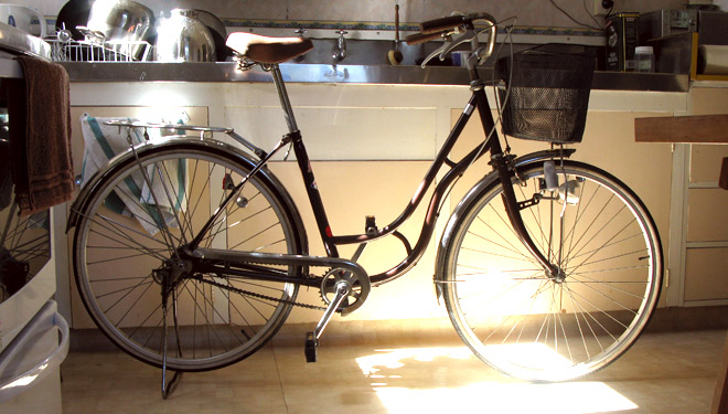 My mamachari bike in our kitchen
