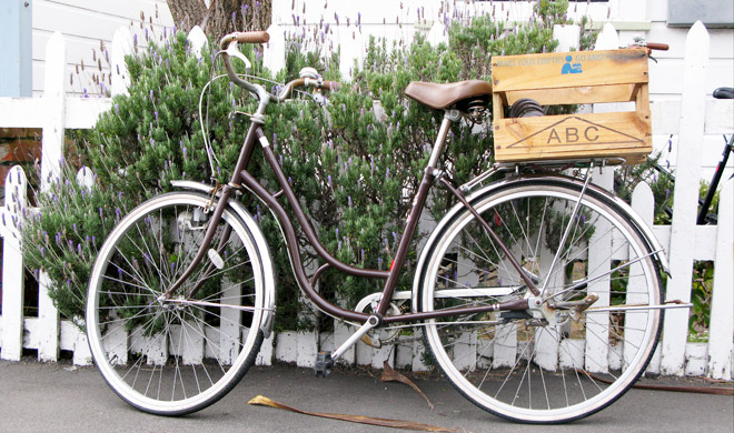 My mamachari bike on our street